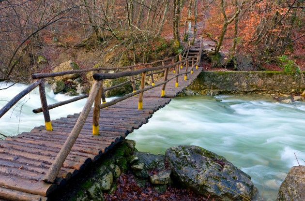 POPLAVNA VARNOST bigstock Wooden bridge over mount